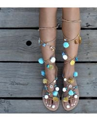 Atterley - Tie Up Sandals With Blue Pompoms - Lyst