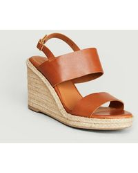 Anthology Barano Leather Wedge Sandals Ambra - Brown