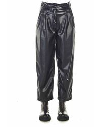 Twin Set Loose Trousers In Eco-leather - Black