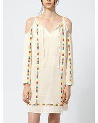 INTROPIA Fluoro Embroidered Cotton Tunic - Ivory - White
