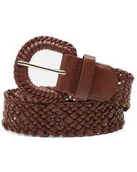 FABIENNE CHAPOT Braidy Wide Leather Belt - Cognac - Brown