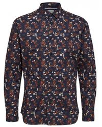 SELECTED Slimdavid Floral Print Shirt - Blue