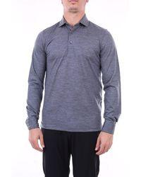 Gran Sasso Long Sleeve Polo In Virgin Wool - Gray