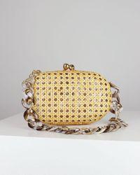 Serpui Light Wicker Olivine Clutch Bag - Metallic