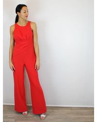 Adrianna Papell Red Wide Leg Jumpsuit