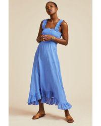 Aspiga Rhianna Embroidered Organic Cotton Midi Dress | Marina - Blue