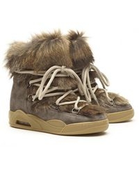 Serafini Taupe Suede And Fur Moon Boots - Brown