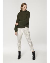 Paisie - Wide Ribbed Funnel Neck Jumper With Fluffy Cuffs In Green - Lyst