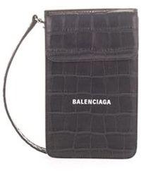 Balenciaga Croc Detail Logo Side Bag Black