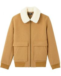 A.P.C. Shearling Collar Jacket Colour: Camel - Brown