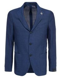 Lardini Men's El528aeelrp56596820 Blue Wool Blazer