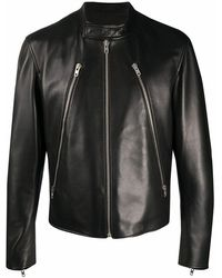 Maison Margiela Men's S50am0489sy1460900 Black Leather Outerwear Jacket