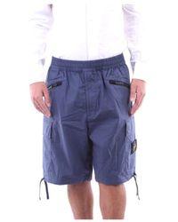 Stone Island Cotton Shorts - Blue