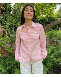 PHOEBE GRACE Nancy Shirt In Small Stripe - Pink