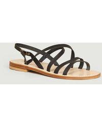 La Botte Gardiane Bastille Calfskin Leather Sandals Noir - Black