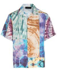Amiri Men's Mss004900multi Multicolour Silk Shirt - Blue