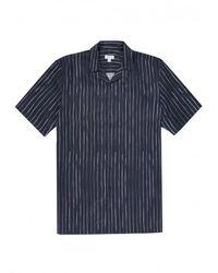 Sunspel Outlet Inky Stripe Short Sleeve Shirt Colour: Navy - Blue