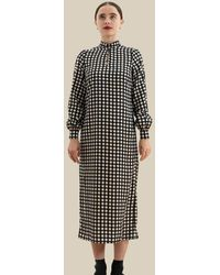 PHOEBE GRACE Andrea High Neck Dress With Keyhole In Daisy - Black