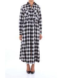 Aglini Women's 119209neroebianco Black Viscose Dress
