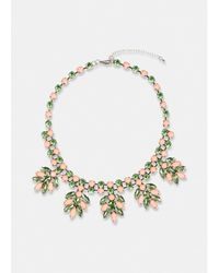Essentiel Antwerp Antwerp Green And Pink Rhinestone Encrusted Necklace