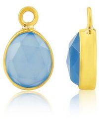 Auree Manhattan Interchangeable Gemstone Drops: Gold And Chalcedony - Blue