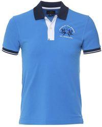La Martina Slim Fit Contrast Trim Polo Shirt Colour: Blue
