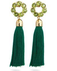 Coco & Kinney Peridot Ella & Green Tassel In Gold - Metallic