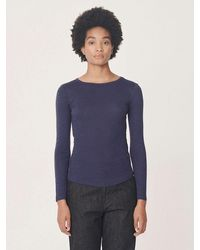 YMC Charlotte Long Sleeve T-shirt In Navy - Blue