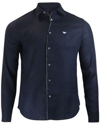 Emporio Armani Linen Shirt With Piping - Blue