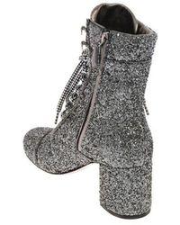 Miu Miu Women's 5t668c3a5uf0480 Silver Glitter Ankle Boots - Metallic