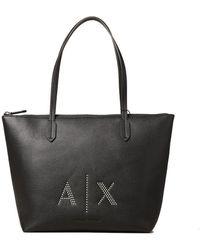Armani Exchange Shopping Bag Black - White
