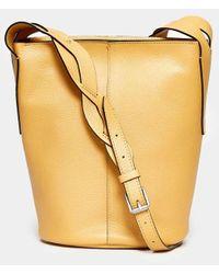 Gianni Chiarini Mango Yellow Hammered Leather Bucket
