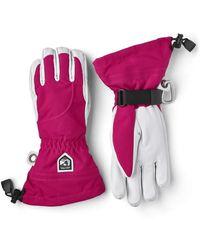 Hestra Heli Ski 5 Finger Glove Fuchsia / Off - White
