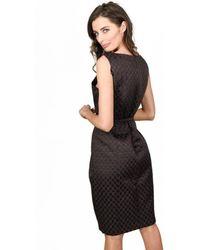 David Meister - Textured Day Dress Brown - Lyst