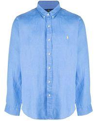 Ralph Lauren Men's 710829444002 Light Blue Linen Shirt