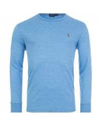 Ralph Lauren Long Sleeved Pima Top In 011 Soft Royal Heather Colo - Grey