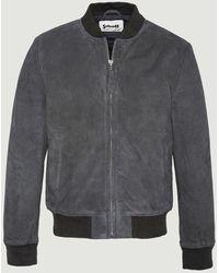 Schott Nyc Lc300 Suede Leather Bomber Jacket Dark Gray