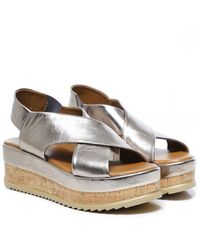 Inuovo Leather Crossover Slingback Sandals Colour: Pewter - Metallic