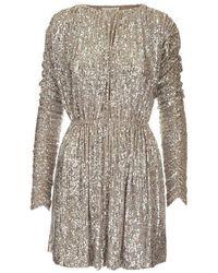 Saint Laurent Saint Laurent Women's 611963ybok21901 Silver Polyamide Dress - Metallic