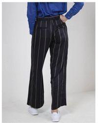 NÜ Thin Striped Pants - Black