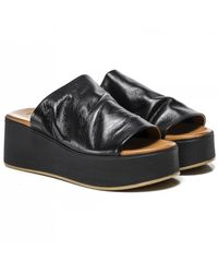 Inuovo Leather Wedge Sliders Colour: Black
