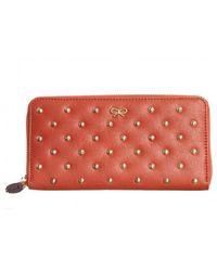 Anya Hindmarch Joss Leather Purse With Studs - Orange