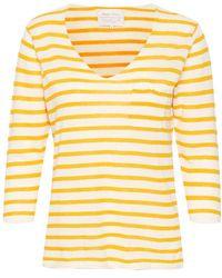 Part Two Dosta Yellow Stripe Knit - White