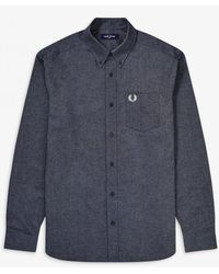 Fred Perry M9065 Brushed Cotton Oxford Shirt - Gray