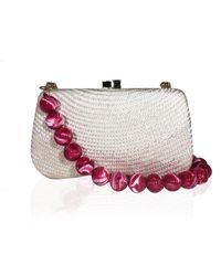 Serpui Sand Bella Straw Clutch Bag - Pink
