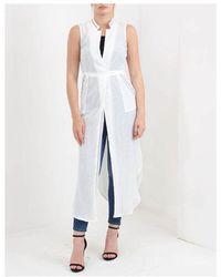 NÜ Eyelet Long Sleeveless Jacket Colour: White