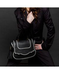 Thale Blanc Audrey Satchel: Black Designer Handbag With White Stitching & Gold Hardware