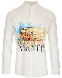 Valentino - Men's Vv3ab76571f34s White Other Materials Shirt - Lyst