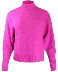 Cocoa Cashmere Holly Turtle Neck Knit Sweater - Pink