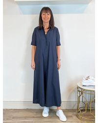 Ottod'Ame Short Sleeve Midi Shirt Dress - Blue
